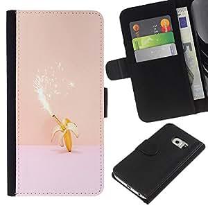 Samsung Galaxy S6 EDGE / SM-G925(NOT FOR S6!!!) Modelo colorido cuero carpeta tirón caso cubierta piel Holster Funda protección - Magic Banana Birthday Pink Peach Fireworks