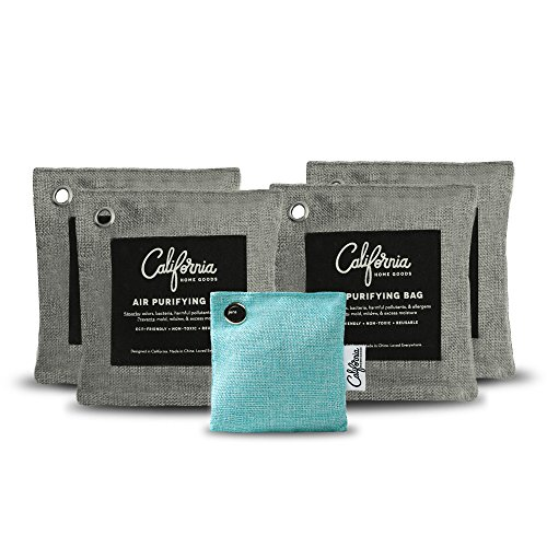 5-Pack Activated Bamboo Charcoal Bags Value Set with Refrigerator Bag, 4X 500g Grey Air Purifying Bags Plus 1x 60g Teal Natural Deodorizer Bag, Non-Toxic Unscented Odor Eliminator for Cars and Homes (Charcoal Purifier)