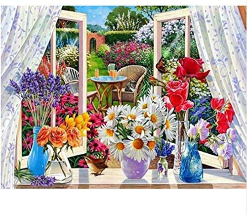 YueQiSong Easy Cross Stitch Kits Diamond Painting Colourful Flower Drill Resin Diamond Embroidery Butterfly Pictures of Rhinestones Decoration Home Household Gift 30X40Cm