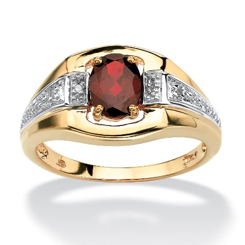 Men's 18K Yellow Gold over Sterling Silver Oval Cut Genuine Red Garnet and Diamond Accent Ring Size 9 (Jewelry Diamond Mens)