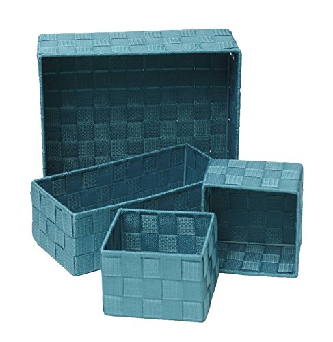 EVIDECO Checkered Woven Strap Storage Baskets Set of 4 (Turquoise Blue)