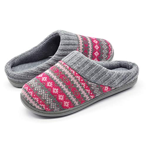 RockDove Sweater Knit Scuff Slippers for Women, Size 11-12 US Women, Rose Red