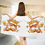 Dragon,Bath Towel,Twin Fire Dragon Zodiac Statues Asian Art Chinese Philosophy Themed Picture,Bathroom Towels,Vermilion Yellow Size: W 31.5'' x L 63''