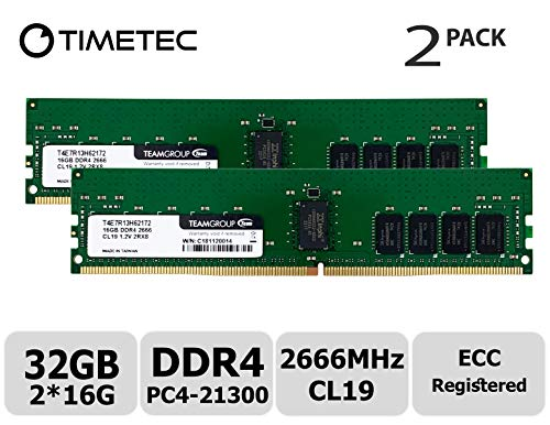 Timetec Hynix IC 32GB KIT (2x16GB) DDR4 2666MHz PC4-21300 Registered ECC 1.2V CL19 2Rx8 Dual Rank 288 Pin RDIMM Server Memory RAM Module Upgrade (32GB KIT (2x16GB))