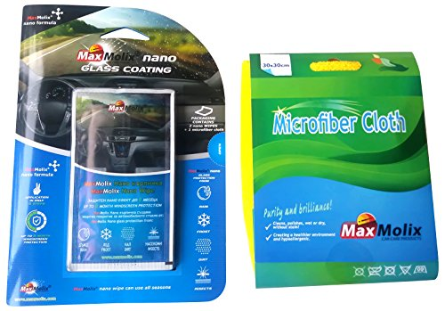 Effective MaxMolix Nano Windshield Glass Treatment, Moisture and Rain Repellant, and Protectant Including a Free Microfibre Cloth-Best quality Guaranteed! Pack of 1!