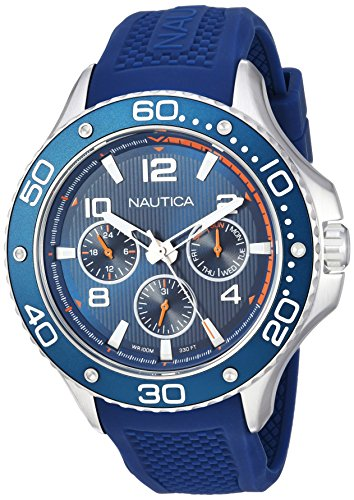 Nautica Men's PIER 25 Collection Stainless Steel Japanese-Quartz Watch with Silicone Strap, Blue, 21 (Model: NAPP25002)