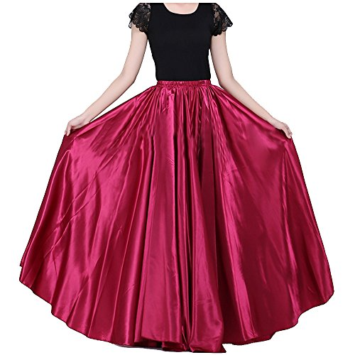 Effect Design (BACKGARDEN 90cm Belly Dance Satin Long Dress Elastic Waistband Design Great Stage Effect (Dark Red))