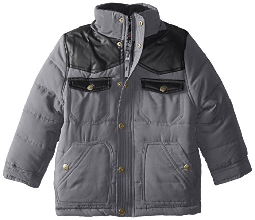 Boys' Yoke YMI Charcoal Bubble Pleather Jacket with Hood Contrasting Detachable and 7qdTq1