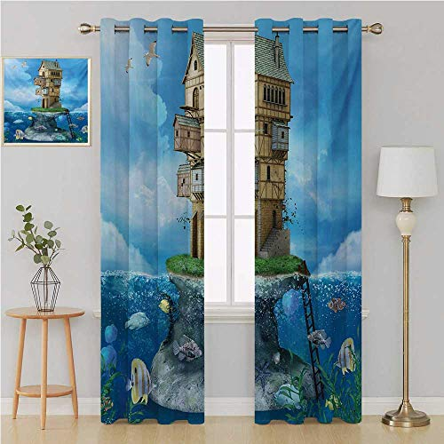 Cartoon grommit Curtain Curtains for Bedroom/Living Room Curtain,Fantasy Fisherman House Fairytale Underwater Life Fishes Coral Cloudy Sky Wall Curtain 84 by 108 Inch Blue Brown Green