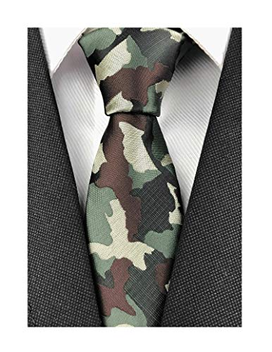 Men Black Camouflage Tie Neckwear Pattern Necktie by Designer Best Gifts for Friends