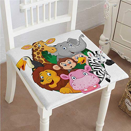 Mikihome Chair Pad Soft Seat Cushion Exotic Safari Animals All Together Comic Creature with Zebra and Elephant Friend Trek Expandable Polyethylene Stuffed Machine Washable 30''x30''x2pcs by Mikihome