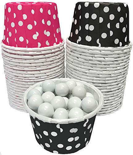 Candy Nut Mini Baking Cups - Black and Hot Pink - 2 x 1.5 Inches - 48 Pack]()