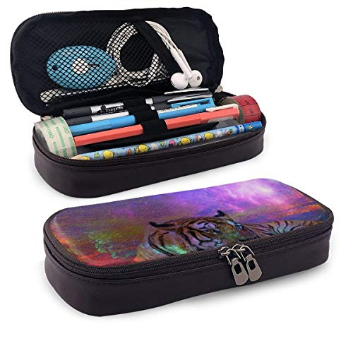 Pencil Case Big Capacity Pencil Bag Makeup Pen Pouch Durable Students Stationery with Double Zipper Pen Holder for School/Office, Gorgeous Tiger