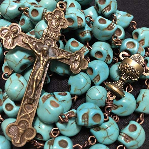 elegantmedical Handmade Catholic XL 10MM Bule howlite Skull Beads Antiqued Rosary Bead Cross Bronze Crucifix Necklace Catholic Gifts 100180