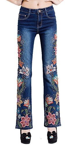Women's Beaded Flowers Embroidered Washed Denim Jeans Dark Blue 34