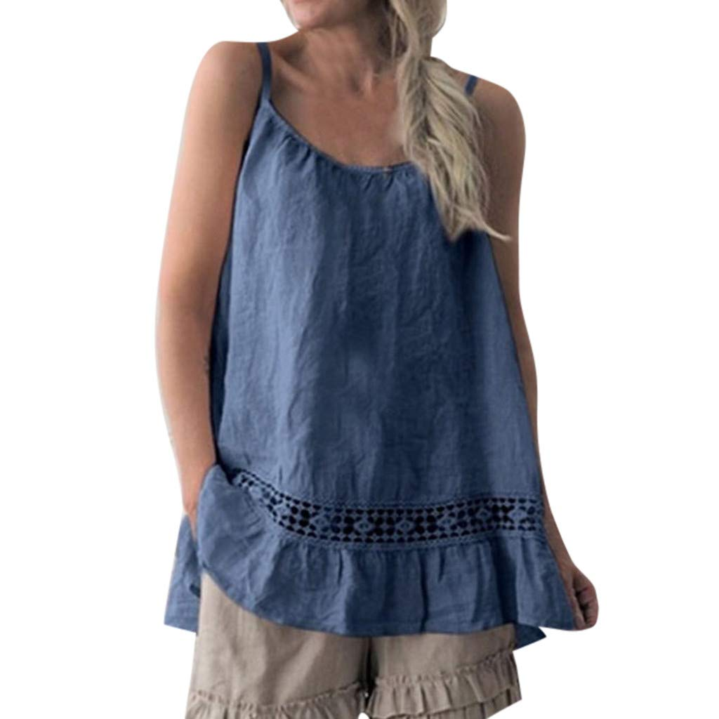 Hotkey Women's Tanks Tops Pack Women Casual O-Neck Cotton and Linen Sleeveless Patchwork Tops Blouse Navy