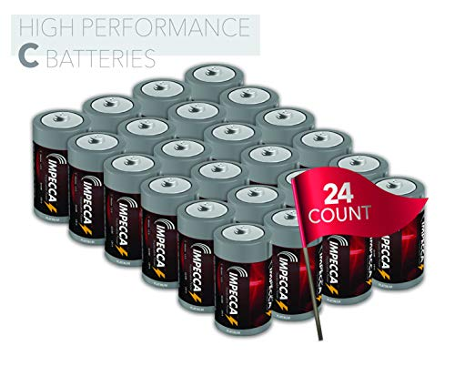 IMPECCA C Cell Batteries, Everyday Alkaline Batteries (24-Pack) High Performance C Battery Long Lasting Shelf Life and Leak Resistant 24-Count LR14 - Platinum Series
