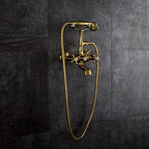 S-TING 蛇口 ヨーロッパの銅ゴールデンバスタブ蛇口にザ・ウォール浴室のシャワーの蛇口2機能温水や冷水バルブハンドシャワー混合システム美しい実用 水栓金具 立体水栓 万能水栓