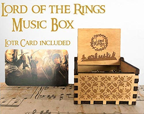 (Beautiful Carved Wooden Music box Hand cranked: Lord of the Rings Beauty and the Beast, Star Wars, Frozen, Zelda and Lord of the Rings Theme Gift (Lord of the Rings, Wood) (Lord of the Rings))
