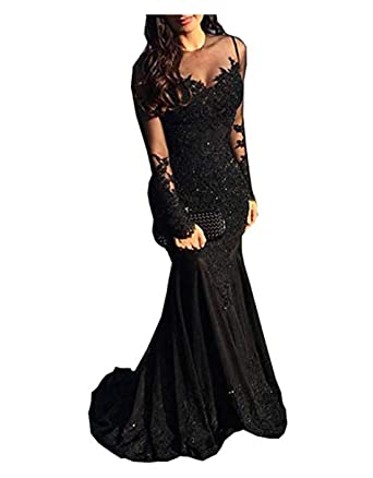 ab3f50e32f6d Illusions Beaded Chiffon Mermaid Prom Dresses Long Sleeves Lace Formal  Evening Party Gown Black