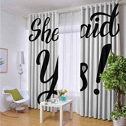 Andrea Sam Outdoor Balcony Privacy Curtain Engagement Party,She Said Yes Quote in Bold Hand Written Sketchy Image Celebration,Black and White,W72 xL108 Outdoor Patio Curtains Waterproof with Grommets