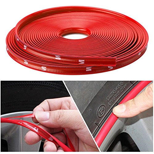 Nice Red Car Wheel Rim Edge Protector Ring Tire Guard Sticker Line Rubber Strip by Generic