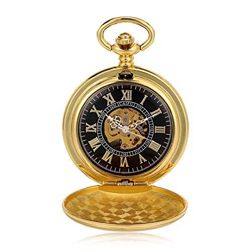 Pocket Watch Timepiece (Antique Classic Steampunk Watch Golden Roman Numerals Mechanical Hand Wind Mens Pocket Watch Full Hunter Fob Luxury Timepiece)