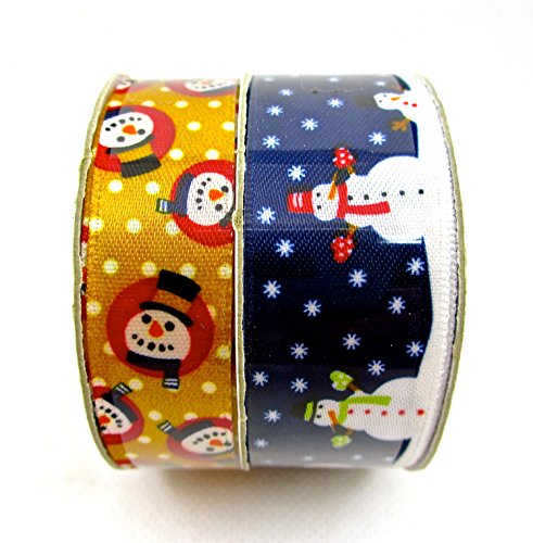 Jo-ann's Snowman Ribbon,twin-pack,blue with Snowmen,gold Polka Dots with Snowman Faces,5/8