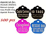 Laser Etched Bulk Lot Pet ID Tag for Dog & Cat Shelters, Rescues, Non Profits Org. and Special Events (Lot of 100)
