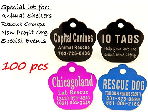 Laser Etched Bulk Lot Pet ID Tag for Dog & Cat Shelters, Rescues, Non Profits Org. and Special Events (Lot of 100) by io tags