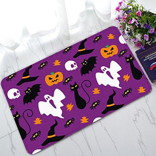 Custom Funny Hallowen Time Ghost Pumpkin Halloween Home floor mat Fashion Home Decorative Rug Non-Slip Indoor/Outdoor Doormat Size (Custom Halloween Doormats)