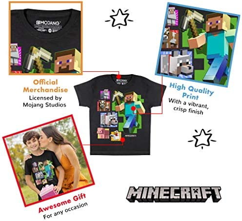 Official Merchandise PS4 PS5 Xbox PC Switch Gamer Gifts Childrens Clothes Minecraft Distressed Steve Boys T-Shirt Kids Birthday Gift Idea Tween Teen School Boys Gaming Top