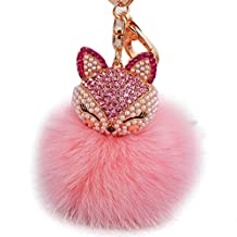 Tenworld Real Fox Fur Ball with Artificial Fox Head Inlay Pearl Rhinestone Key Chain for Womens Bag or Cellphone (Pink 2)