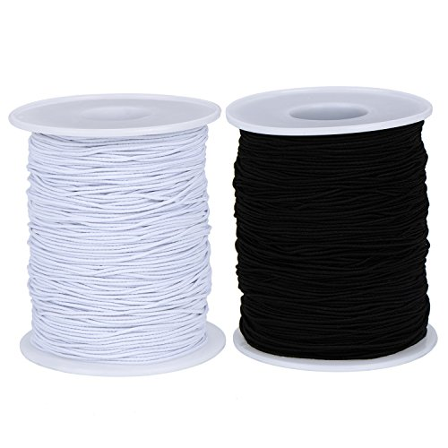 Outus 2 Roll 0.8 mm Elastic Cord Thread Beading Threads Stretch String Fabric Crafting Cord for Jewelry Making, White and Black (200 m) (100 m)