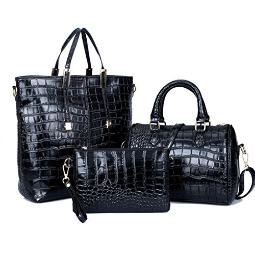 Leather Handbag PU Fashion Bag Bags Handbags Set Purse Black Women Bag Pcs Shoulder iTECHOR 3 Tote Ywq8Bp0
