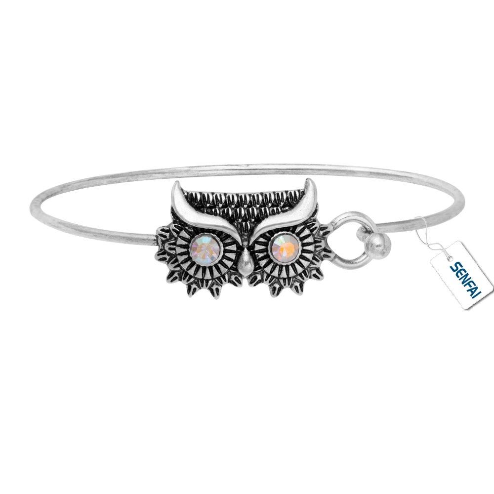 SENFAI Owl Hook Clasp Easy Open Wire Bangle Bracelet 3 Tone