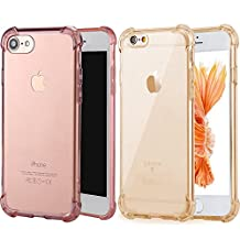 Apple iPhone 7 Case [2 Pack]iBarbe Crystal Clear TPU Shock Absorption [Scratch Resistant] Flexible TPU Shield Cushion Bumper Soft Cover Slim Body Drop Protection Shock Absorption(Rosegold+Gold)