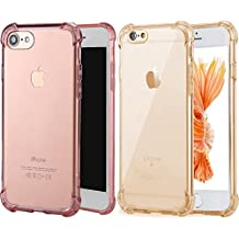 Apple iPhone7 Plus Case [2 Pack]iBarbe Crystal Clear TPU Shock Absorption [Scratch Resistant] Flexible TPU Shield Cushion Bumper Soft Cover Slim Body Drop Protection Shock Absorption