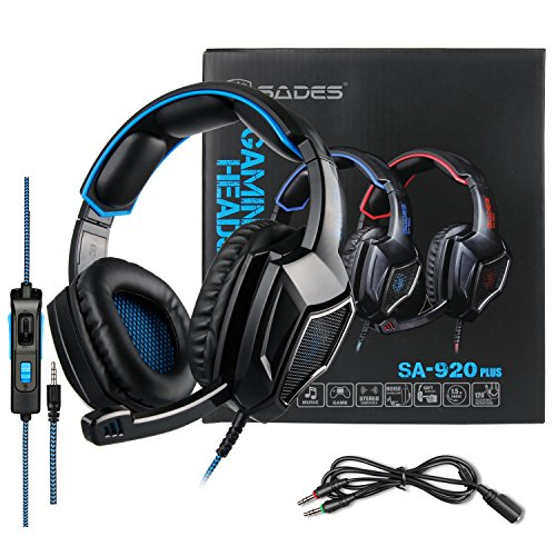 Stereo Gaming Headset PS4 Xbox One S, SADES SA920PLUS Noise Cancelling Over Ear Headphones with Mic, Bass, Soft Memory Earmuffs for PC Laptop Mac Nintendo Switch Games Mobile(Black Blue)