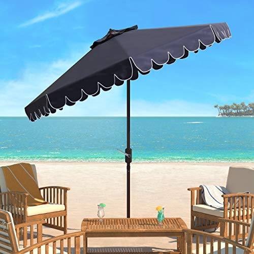 - Safavieh PAT8010A Collection Venice Navy and White Single Scallop 9Ft Crank Outdoor Push Button Tilt Umbrella
