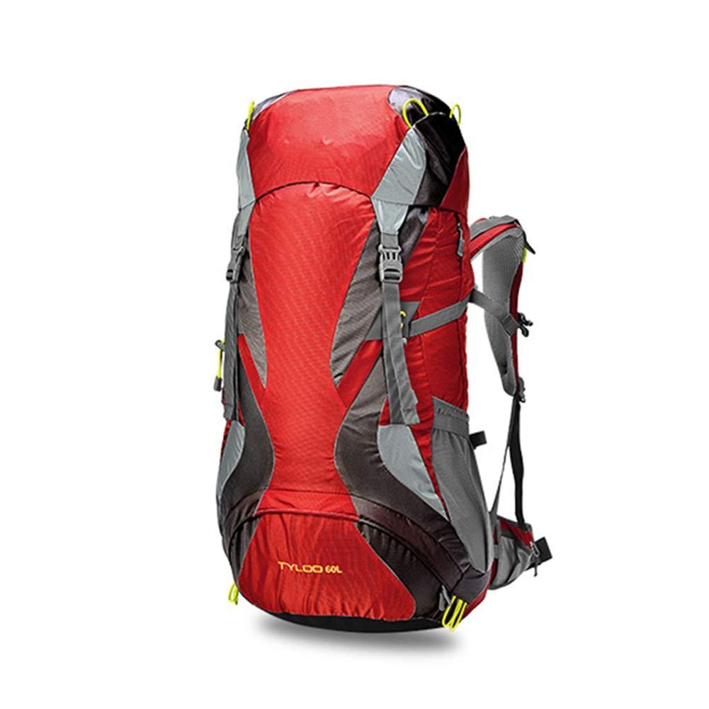 レインカバー付きアウトドアスポーツ登山クライミングナップザック用60L防水トレッキングリュックサック ZHAOYONGLI (色 : 赤, サイズ さいず : 60 60) 60 60 赤 B07Q6RVZWM
