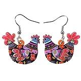 Best Earrings Gifts For Girls Womans - Acrylic Drop Hen Chicken Earrings Funny Farm Design Review