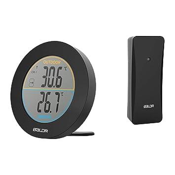 Gugutogo Baldr Ronda Wireless LCD del termómetro Digital de Pared Metro de la Temperatura B0127T2