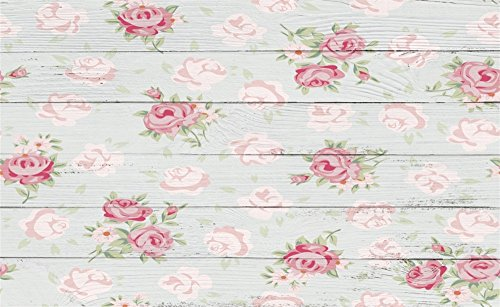 Shabby Stripes Chic - Leowefowa 5X3FT Floral Backdrop Shabby Chic Flowers on Nostalgia Stripes Wood Floor Backdrops for Photography Interior Wall Decoration Wallpaper Happy Mother's Day Photo Background Studio Props