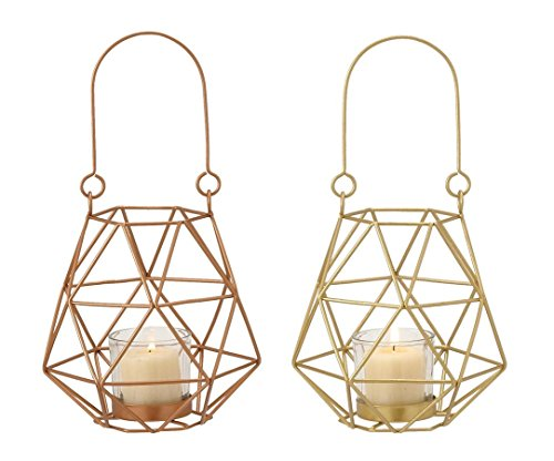 Deco 79 95241 2 Assorted Metal Glass Rope Lantern