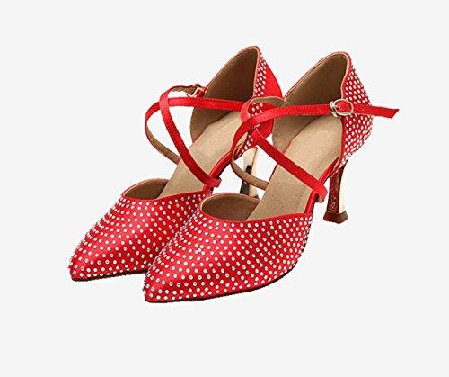Miyoopark Ks128 Damesschitterende Gesloten Teen Satijn Latin Salsa Ballroom Trouwschoenen Rood-7.5cm Hak