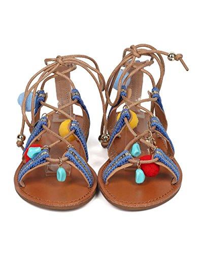 Breckelles Vrouwen Tribal Gladiator Sandaal - Bungelend Charms Sandaal - Pom Pom Sandaal - Hk36 Door Natuurlijke Mix Media