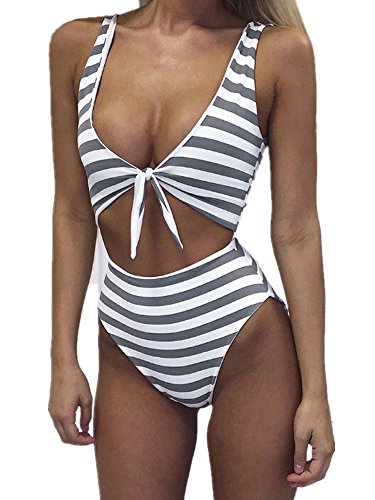 Inorin Womens Front Tie Bikini High Waisted Sexy Cut Out One Piece Striped Swimsuit Backless Bathing Suits Grey (Pornstar With Best Legs)