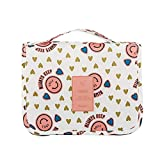 Oumeiou Travel Cosmetic Bags, Portable Multifunction Waterproof Colorful Travel Toiletry Bags Makeup Bags Wash Organizer (Pink)
