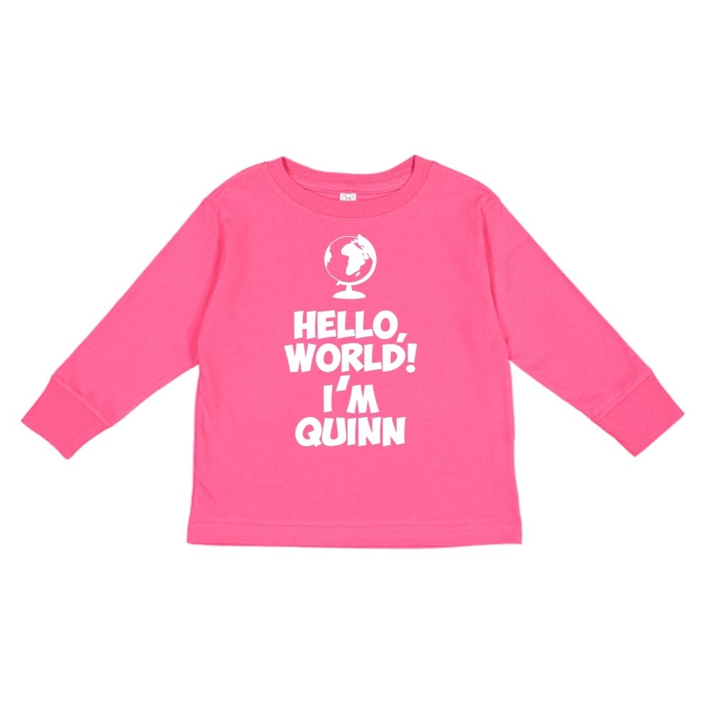 Im Quinn Personalized Name Toddler//Kids Long Sleeve T-Shirt Mashed Clothing Hello World